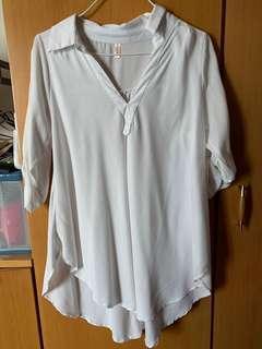 加大碼白色雪紡裇衫