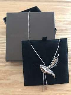 BNIB Risis long 925 Stirling Silver dove design chain necklace