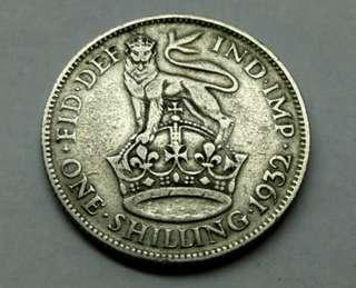 1932 GB Shilling King George V Silver Coin