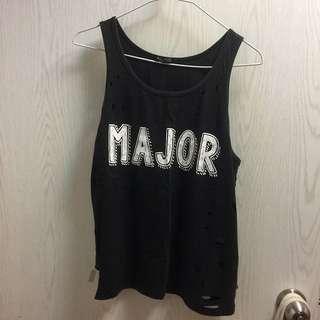 🚚 Major破洞黑色上衣