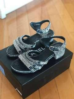 Chanel Black and White Tweed Sandals