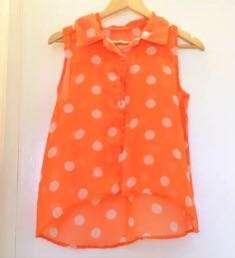 Polka dots Orange See-through Blouse