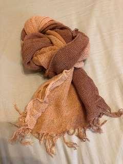 🚚 印度買的手工圍巾(粉橘)