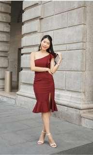 Freya Toga Slit Dress in Burgundy