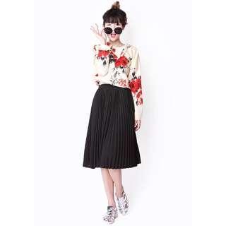 Aforarcade accordion midi skirt, black