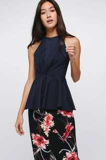 Love Bonito Eulalie Peplum Top (Navy)