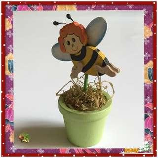 Wooden Honeybee In A Flower Pot