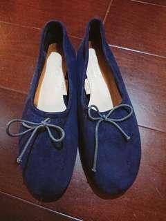 🚚 D+af深藍色絨面平底鞋