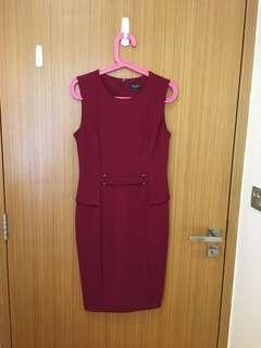 Burgundy Peplum Office Dress