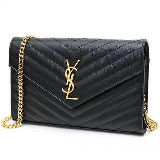 Authentic (Large) YSL Wallet on Chain WOC Clutch Sling Bag Gold Hareware