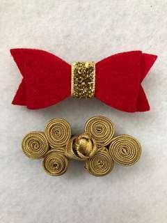 CNY Hair Clip Set - Felt Bow & Oriental Knot