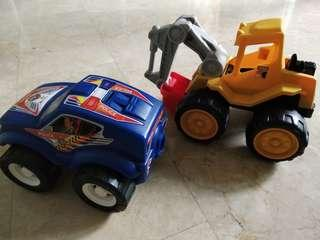 Pre❤ Large Toy Police Car & New Crane Truck Both for $12