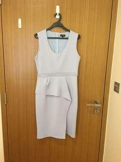 Sky blue peplum work dress