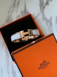 Hermes 手鐲 Clic H Bracelet 白色玫瑰金