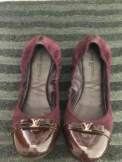 LV Plum Suede Flat with patent front.