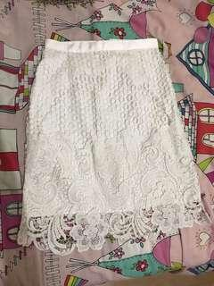 Portman white lace skirt