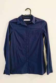 Giordano Blue Long Sleeve Polo