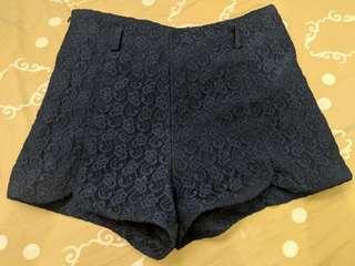 Black lace shorts high waist