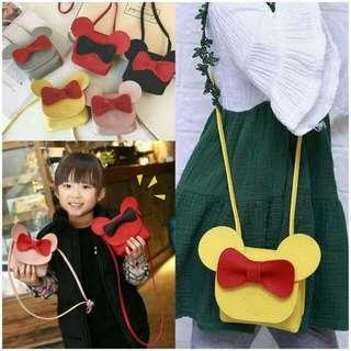 🚚 現貨)韓版女童米奇可愛蝴蝶結斜背包包