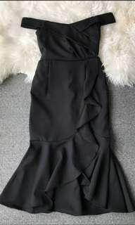 Black Off Shoulder Mermaid Dress