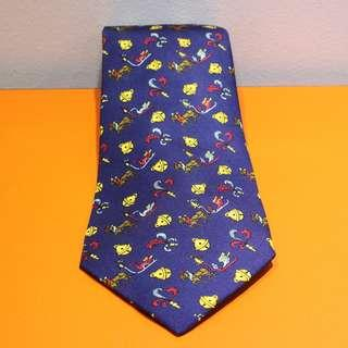 "Hermes Navy Blue ""Christmas Theme"" Tie"