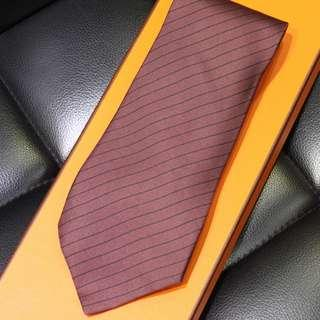 Hermes Burgundy Tie with Black Stripes (New Year Promosi)