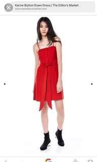 The Editors Market Karine Button Down Dress in Red