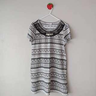 Black and White Aztec Print Dress