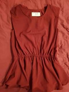 Almost new Brown red Peplum Top