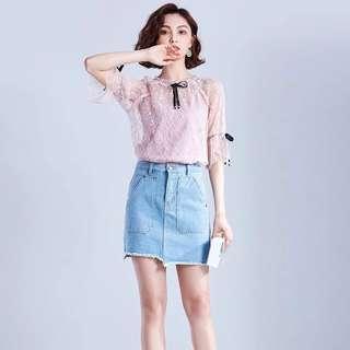 Denim Irregular high waist skirt
