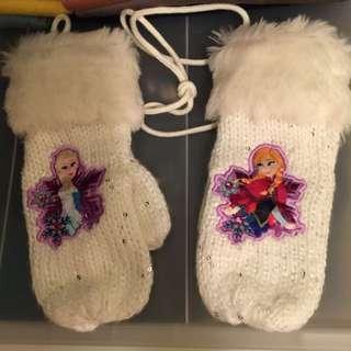 Frozen 白色冷手套配毛毛