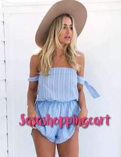 😆FREE SHIPPING* under 500g😆(Blue) Tube top butterfly sleeve one-shoulder jumpsuit striped cotton