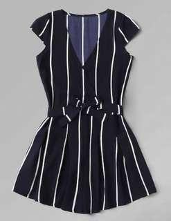 Bat sleeve navy striped romper/playsuit with belt