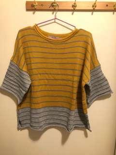 🚚 (含運)Queen shop7分袖下擺捲曲條紋毛衣