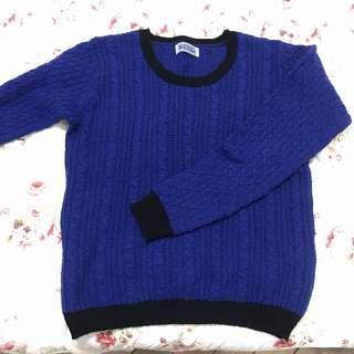 🚚 日貨 nice claup 寶藍深藍捆黑邊毛料毛線上衣毛衣