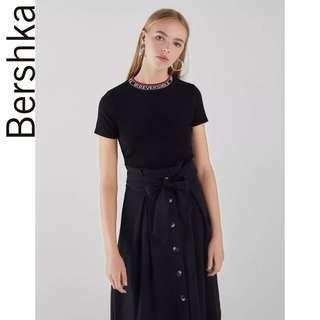 Bershka slogan round ring neck knit top