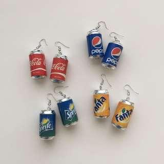 MINI COKE SPRITE FANTA PEPSI CAN EARRINGS
