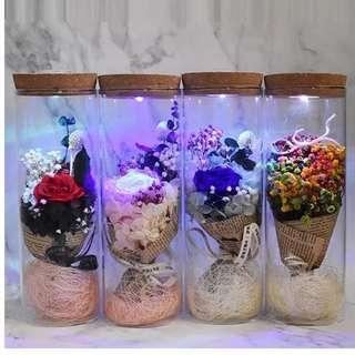 Valentine Gifts- Bottle LED Preserved Rose (9x20cm Ht)