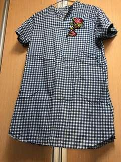 Checkered Dress -  with flower patches