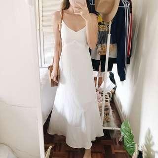 White Low Back Maxi Dress