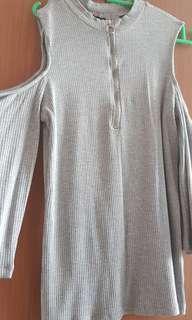 Cold shoulder zipped top asos