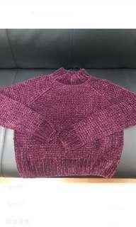🚚 H&M光澤針織毛衣 酒紅色(偏短版)