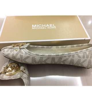 Michael Kors Flats Shoes Fulton Moccasin Signature Leather White US Size 9