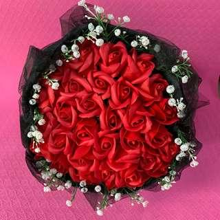 Black Valentine Day Bouquet Flower of 33 Red Roses (Delivery can arrange)