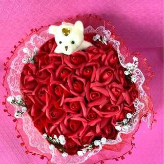 Red Valentine Day Bouquet Flower of 34 Red Roses with Teddy Bear (Delivery can arrange)