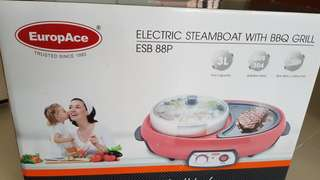 EuropAce Electric steamboat with BBQ Grill