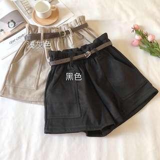 Black/Light Gray Paperbag Highwaisted Shorts