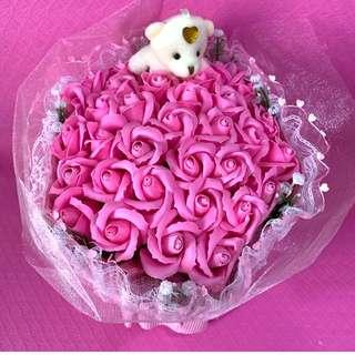Pink with Teddy Bear Valentine Day Bouquet Flower of 34 Red Roses (Delivery can arrange)