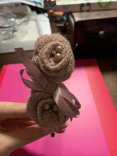 Barbie 粉紅色毛冷玫瑰花髮箍