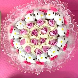Hello Kitty Flower Bouquet of Pink Roses for Valentines Day